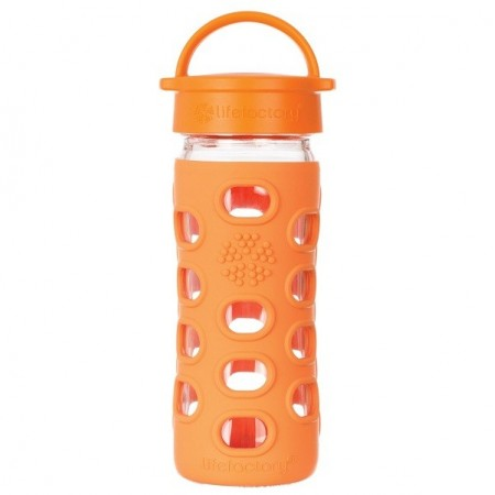 Lifefactory Glass Water Bottle Loop Cap 12oz 350ml Orange
