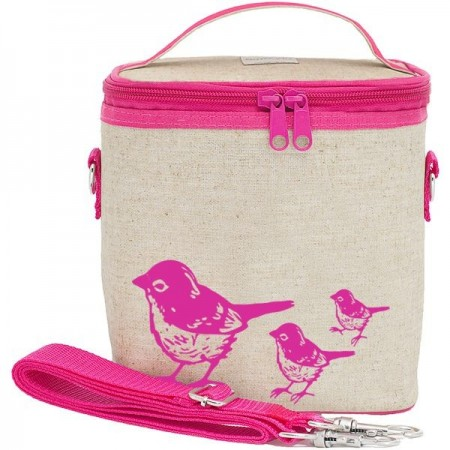 SoYoung small insulated cooler bag - Pink Birds raw linen