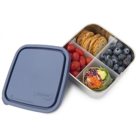 U Konserve Medium To-Go Square Container with Divider - Ocean
