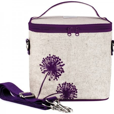 SoYoung small insulated cooler bag - Purple Dandelion raw linen