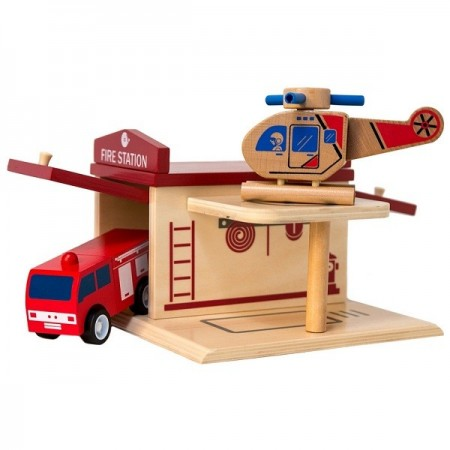Click Clack wood puzzle garage - fire station NEW