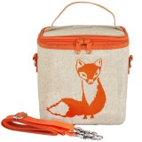 SoYoung insulated large lunch bag - orange fox raw linen