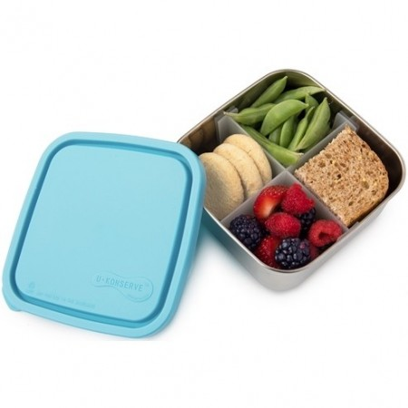 UKonserve Medium To-Go Square Container with Divider - Sky