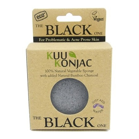 KUU Konjac sponge - bamboo charcoal for acne prone skin