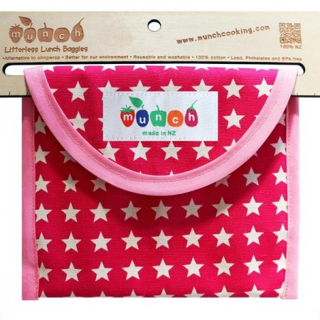 Munch Litterless Lunch Bag - Pink Stars