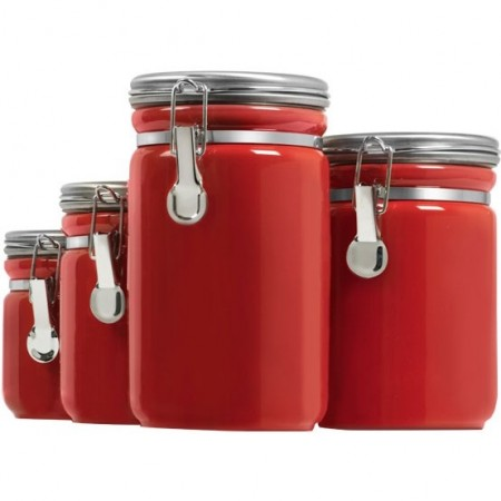 Ceramic Canister Set with Stainless Steel Lids - 4 Piece Red