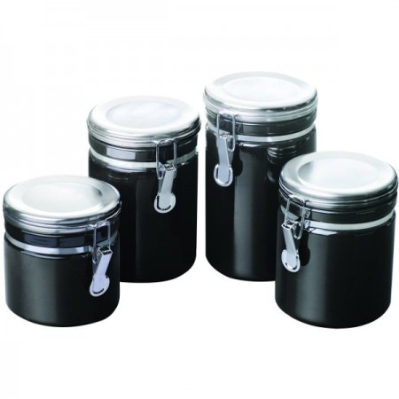 Ceramic Canister Set with Stainless Steel Lids - 4 Piece Black