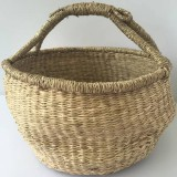 Vietnamese Seagrass Round Carry Basket - Medium