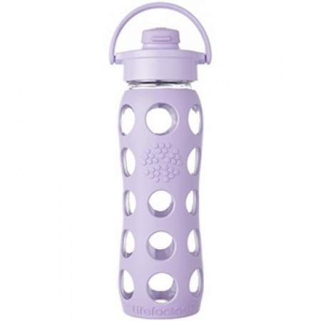 Lifefactory Glass Water Bottle flip-top 22oz 650ml - Lilac