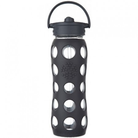 Lifefactory Glass Water Bottle Straw Cap 22oz 650ml - Carbon Grey