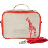 Insulated lunch box - orange giraffe raw linen by SoYoung