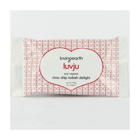 Luvju choc chip turkish delight raw vegan chocolate by Loving Earth