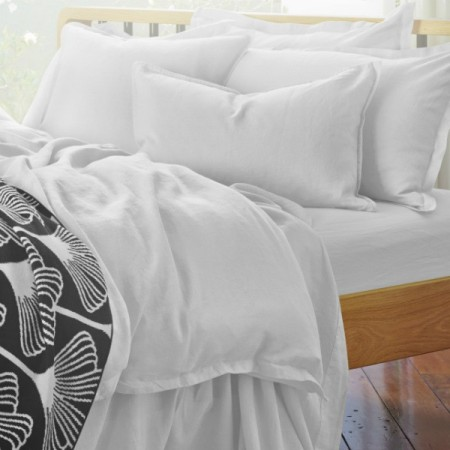 Pure Linen Queen Quilt Cover Set - Cloud
