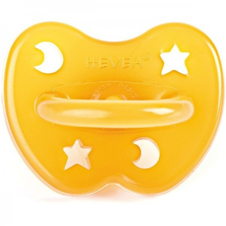 Hevea Natural Rubber Soother - Anatomical 3months+ star and moon