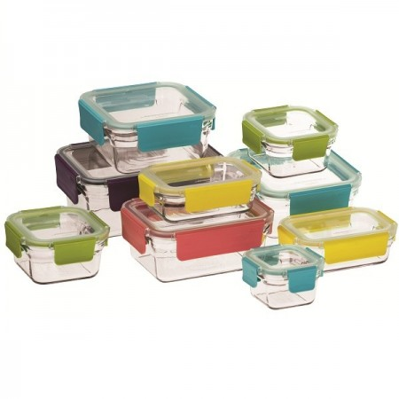 Glasslock Oven Safe Premium Container Set 9 Pieces with coloured clip lids