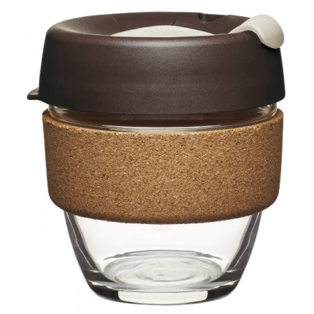 KeepCup small glass cup cork band 8oz (227ml) – almond