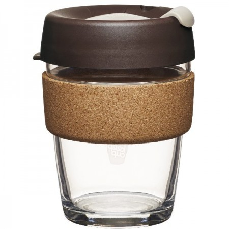 KeepCup medium glass cup cork band 12oz (340ml) – almond