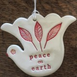 Kylie Johnson Ceramic Christmas Bird - Peace on Earth