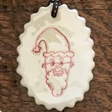Kylie Johnson Mok Ceramic Christmas Ornament - Santa