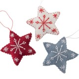Fairtrade Felt Christmas Decorations - Star with Snowflake (1)