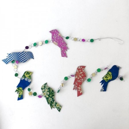 Decoration - recycled paper garland (doves)