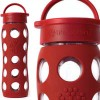 Glass water bottles - 650ml Lifefactory (red)