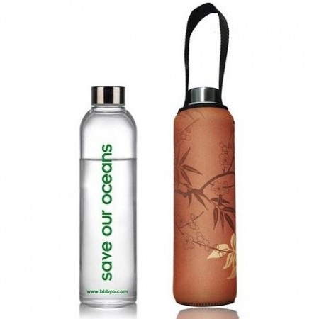 BBBYO 750ml Glass Bottle + Cover - Bamboo