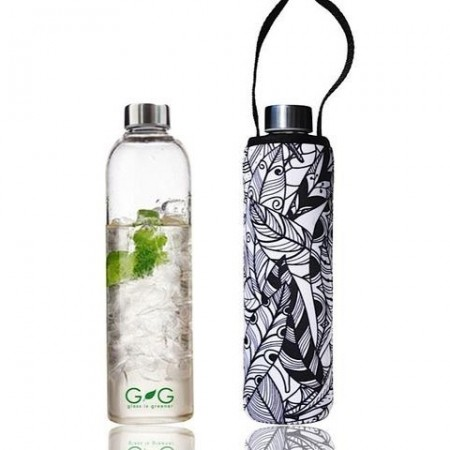 BBBYO 750ml Glass Bottle + Cover - Feather