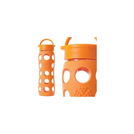 Lifefactory Glass Water Bottle loop cap 22oz 650ml - orange