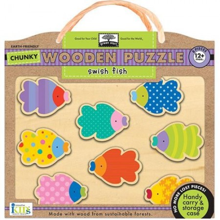Green start wooden puzzle - swish fish (chunky)