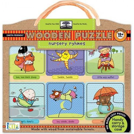 Green start wooden puzzle - nursery rhymes