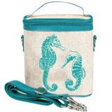 SoYoung Large Insulated Cooler Bag - Aqua Seahorse Raw Linen