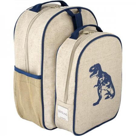 SoYoung raw linen toddler backpack lunch set - blue dinosaur
