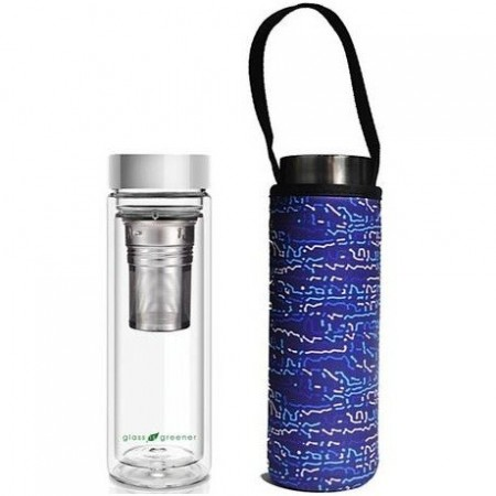 BBBYO Glass Tea Flask with Cover 500ml - Knit