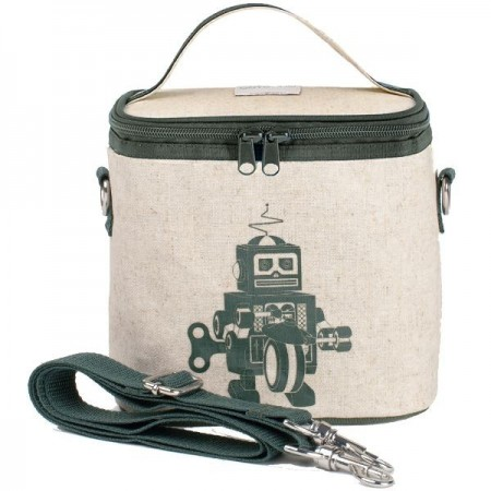 SoYoung Small Insulated Cooler Bag - Grey Robot Raw Linen