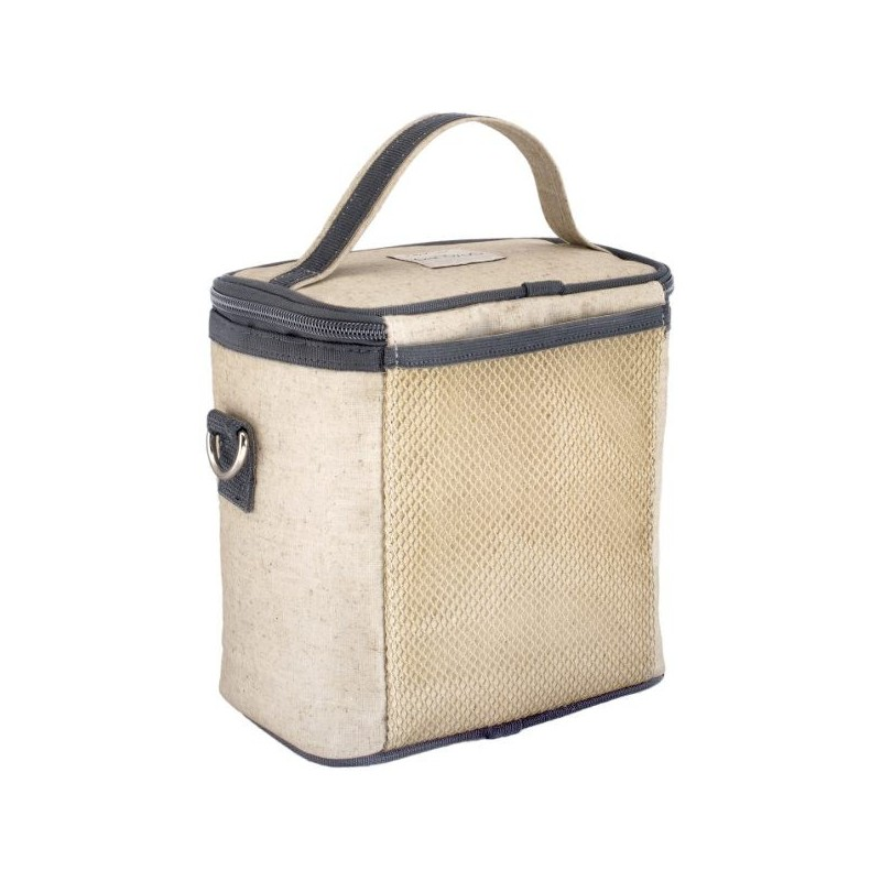 Soyoung Small Insulated Cooler Bag Grey Robot Raw Linen