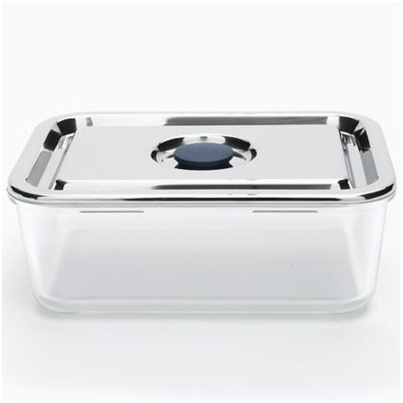 Onyx airtight glass container stainless steel lid Rectangle 1.6L