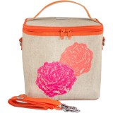 SoYoung Large Insulated Cooler Bag - Orange Pink Peonies Raw Linen