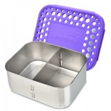 LunchBots Stainless Steel Adjustable Food Container 940ml - Duo Purple Dots
