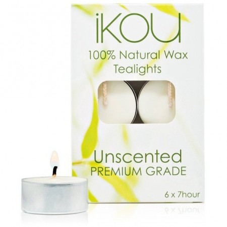 iKOU natural wax soy tealights unscented 6pk