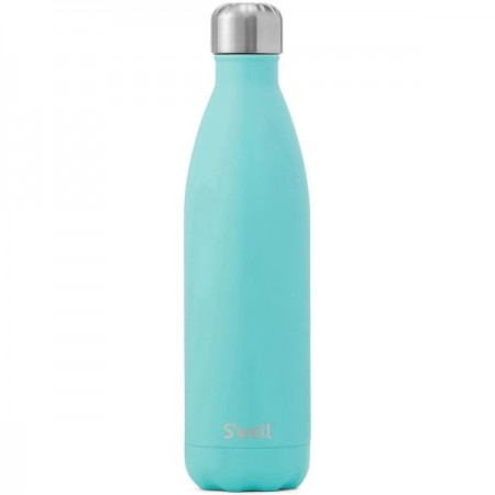 S'Well Insulated Stainless Steel Water Bottle 750ml - Turquoise Blue (silver lid)