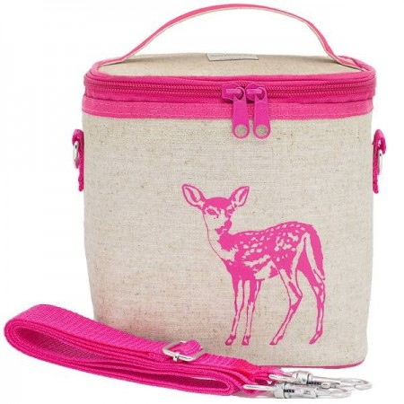 SoYoung small insulated cooler bag - Pink Fawn raw linen