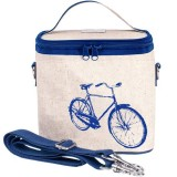 SoYoung small insulated cooler bag - Blue Bicycle raw linen