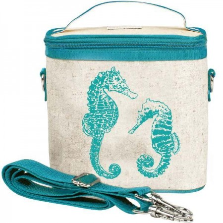 SoYoung small insulated cooler bag - Aqua Seahorse raw linen