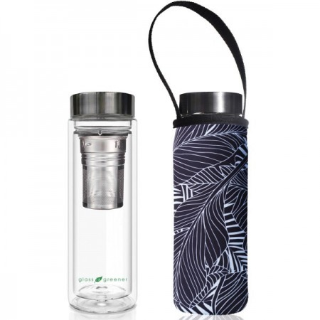 BBBYO Glass Tea Flask with Cover 500ml - Black Feather