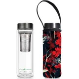 BBBYO Glass Tea Flask with Cover 500ml - Red Butterfly