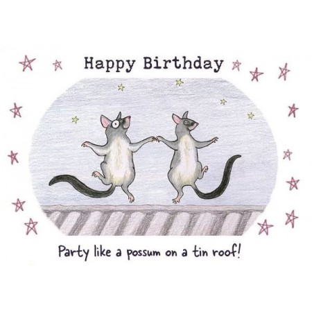 Paula Peeters Wildlife Greeting Card Possums Dancing