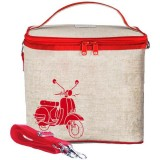 SoYoung Large Insulated Cooler Bag - Red Scooter Raw Linen