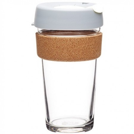 KeepCup Large Glass Cup Cork Band 16oz (454ml) - Fika
