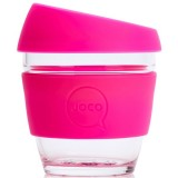 JOCO Small Glass Coffee Cup 235ml 8oz - Pink